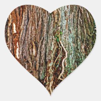 Textura hermosa de la corteza de árbol pegatinas de corazon personalizadas