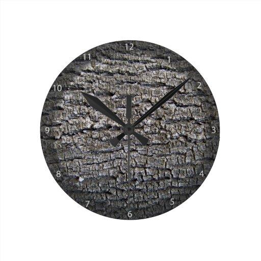 Textura horizontal de la corteza de árbol reloj de pared