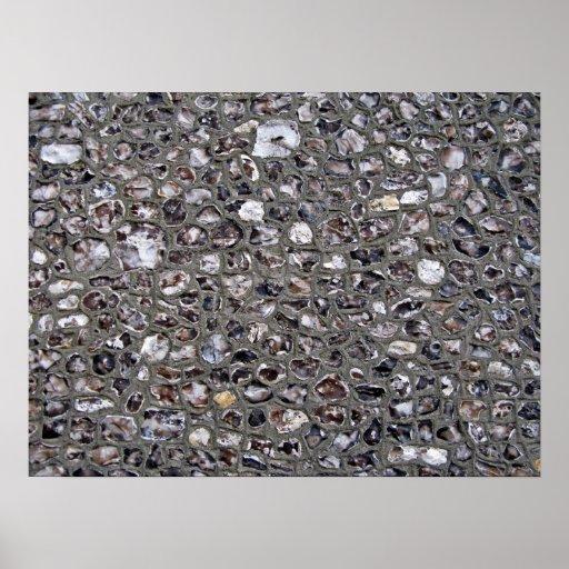 Textura irregular de la pared de piedra poster