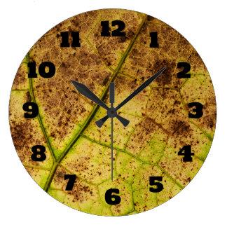 Textura macra de la hoja reloj redondo grande