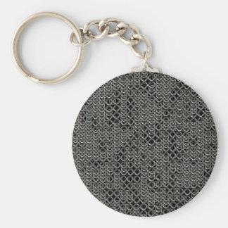Textura medieval de plata hecha andrajos de la llavero redondo tipo pin