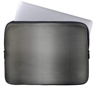 Textura metálica de plata realista funda portátil