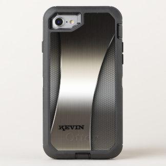 Textura metálica gris moderna del diseño funda OtterBox defender para iPhone 7