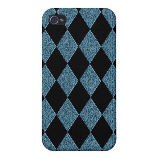 Textura Modelo-Azul y negra del diamante falsa iPhone 4/4S Carcasa