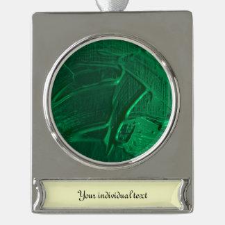 textura mojada del color, verde rótulos de adorno plateado
