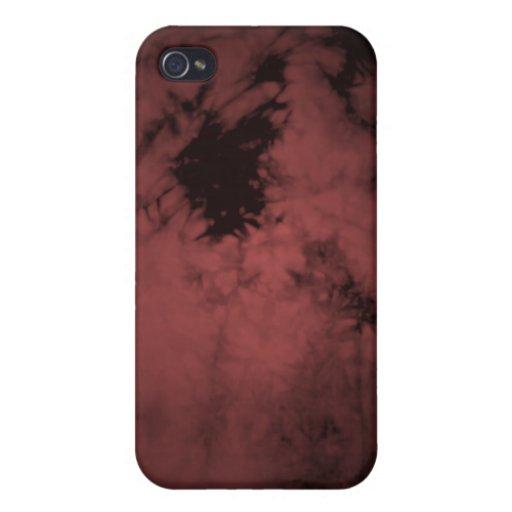 Textura negra de la erosión - rojo iPhone 4/4S carcasa