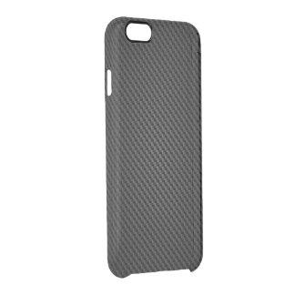 Textura negra de la fibra sintética de Kevlar Funda Clearly™ Deflector Para iPhone 6 De Uncommon