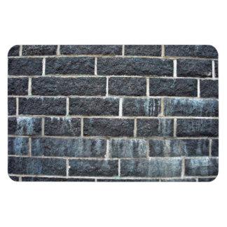Textura negra de la pared de ladrillo imán rectangular