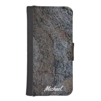 Textura negra roja de piedra del granito billetera para teléfono