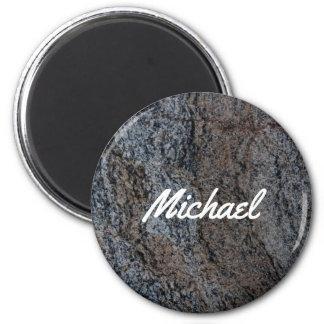 Textura negra roja de piedra del granito imán redondo 5 cm
