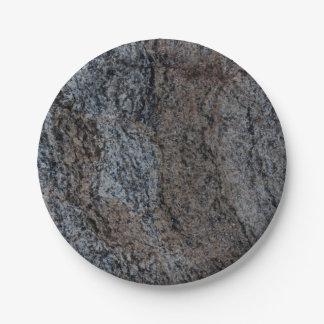 Textura negra roja de piedra del granito platos de papel