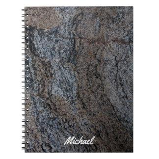 Textura negra roja de piedra del granito spiral notebooks