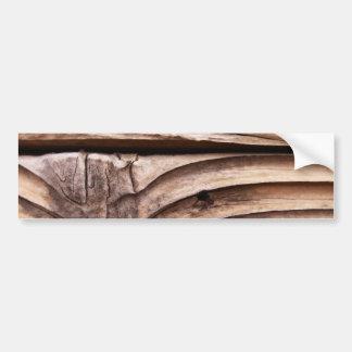 Textura nudosa áspera de Brown de los tablones de  Pegatina De Parachoque