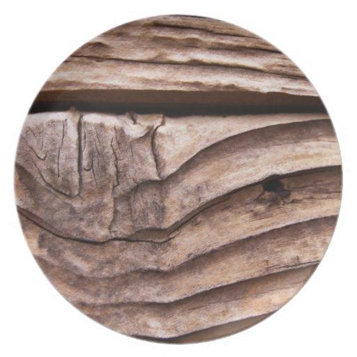 Textura nudosa áspera de Brown de los tablones de  Plato Para Fiesta