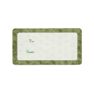 Textura nudosa de la tela de felpilla del verde etiqueta de dirección