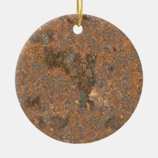 Textura oxidada del metal adorno navideño redondo de cerámica