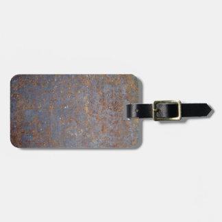 Textura oxidada del metal etiquetas de maletas