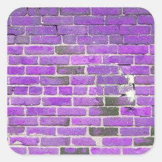Textura púrpura de la pared de ladrillo del pegatinas cuadradases personalizadas