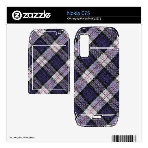 Textura púrpura de la tela escocesa skins para nokia e75