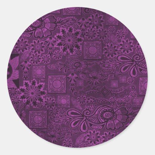 Textura púrpura enrrollada pegatina redonda