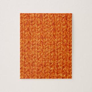 Textura que hace punto del hilado de color naranja puzzles con fotos