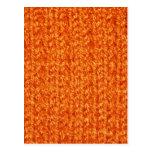 Textura que hace punto del hilado de color naranja tarjetas postales
