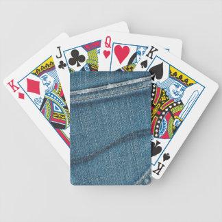Textura retra azul del dril de algodón baraja de cartas