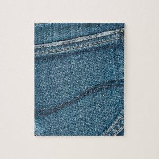 Textura retra azul del dril de algodón puzzle con fotos