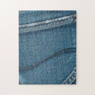 Textura retra azul del dril de algodón rompecabeza