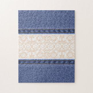 Textura retra del cordón y del dril de algodón rompecabezas con fotos
