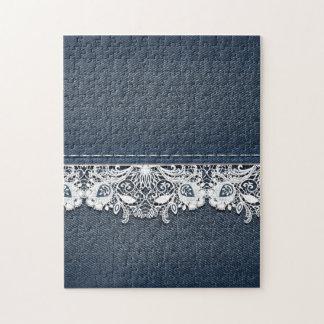 Textura retra del cordón y del dril de algodón puzzle con fotos