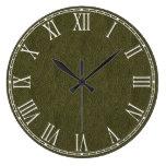 Textura retra del cuero del Grunge del verde verde Reloj De Pared