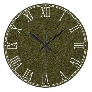 Textura retra del cuero del Grunge del verde verde Reloj Redondo Grande