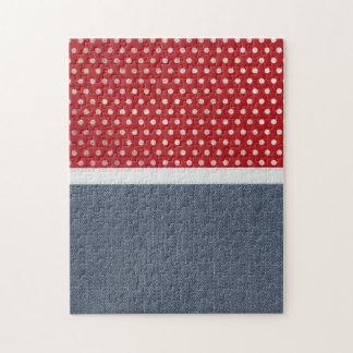 Textura retra del dril de algodón rompecabezas con fotos