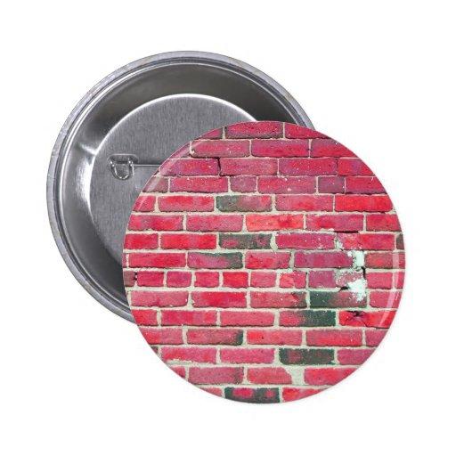 Textura roja brillante de la pared de ladrillo del pin redondo 5 cm