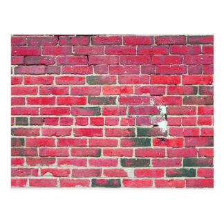 Textura roja brillante de la pared de ladrillo del tarjeta postal