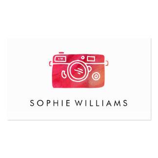 Textura roja de la acuarela de la fotografía tarjetas de visita