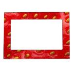 Textura roja de la fresa marcos magnéticos para fotos