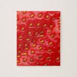 Textura roja de la fresa rompecabezas con fotos