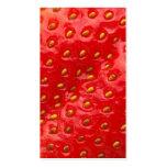 Textura roja de la fresa tarjetas de visita