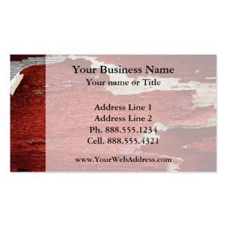 Textura roja de la pintura de la peladura tarjetas de visita