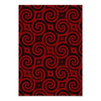 """Textura roja de Swirly del vintage Invitación 3.5"""" X 5"""""""