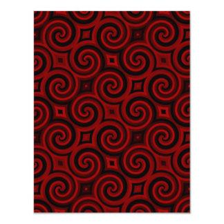 """Textura roja de Swirly del vintage Invitación 4.25"""" X 5.5"""""""