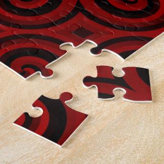 Textura roja de Swirly del vintage Puzzle Con Fotos
