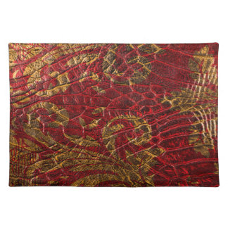 Textura roja del cuero del oro del Grunge Manteles
