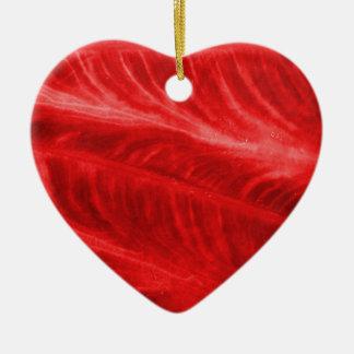 Textura roja del oído de elefante adorno de cerámica en forma de corazón