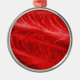 Textura roja del oído de elefante adorno redondo plateado