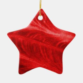 Textura roja del oído de elefante adorno de cerámica en forma de estrella