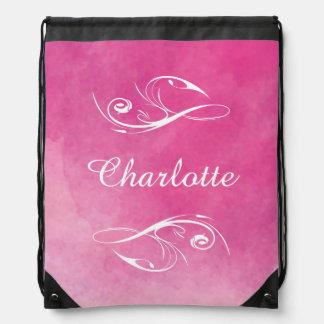 Textura rosada bonita personalizada de la acuarela mochila