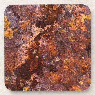 Textura rústica vibrante del hierro de Brown Posavasos De Bebida